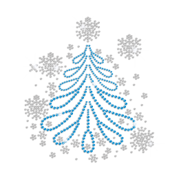 Bling Christmas Snowflake Iron on Rhinestud Transfer Motif