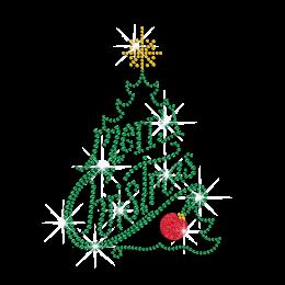 Emerald Christmas Tree Iron on Glitter Rhinestone Transfer Decal
