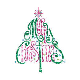 Glittering Christmas Tree Iron on Rhinestone Transfer Decal