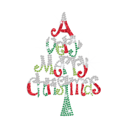 A Very Merry Christmas Iron on Rhinestone Transfer Motif