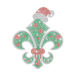 Christmas Fleur De Lis Iron on Rhinestone Transfer Decal