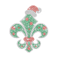 Christmas Fleur De Lis Iron on Rhinestone Transfer Decal