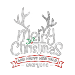 Merry Christmas And Happy New Year Everyone Glitter Rhinestone Iron On