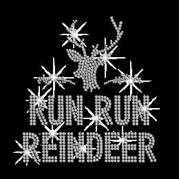 Run Run Reindeer Iron on Metal Rhinestud Transfer Motif