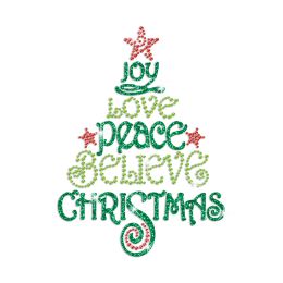 Joy Love Peace Believe Christmas Iron on Glitter Rhinestone Transfer Motif