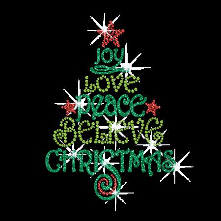 Joy Love Peace Believe Christmas Iron On Glitter