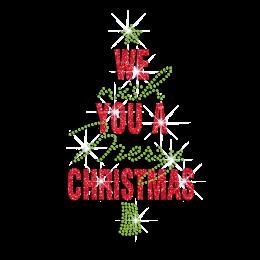 We Wish You A Merry Christmas Iron on Glitter Rhinestone Transfer Motif