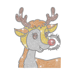 Cute Reindeer Iron on Rhinestone Transfer Decal