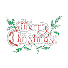 Bling Merry Christmas Iron on Rhinestone Transfer Decal