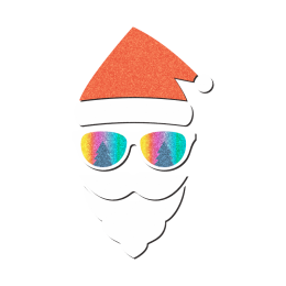 Bling Santa Claus Glitter Transfer Design with Rainbow Sunglasses
