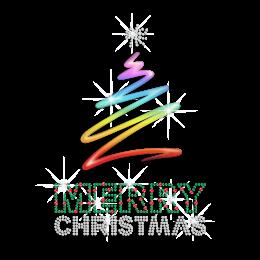 Cool Printing Christmas Tree Rhinestone Transfer Decal