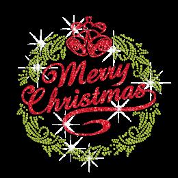 Shining Glitter Christmas Bell Rhinestone Transfer Motif