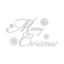 Custom Merry Christmas Iron-on Rhinestone Transfer with Falling Snowflakes