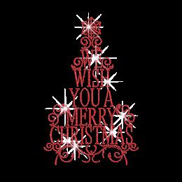 Sparkling We Wish You Merry Christmas Iron-on Rhinestone Design