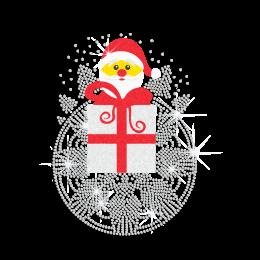 Custom Glitter Santa Claus Holding Gift Rhinestud Transfer