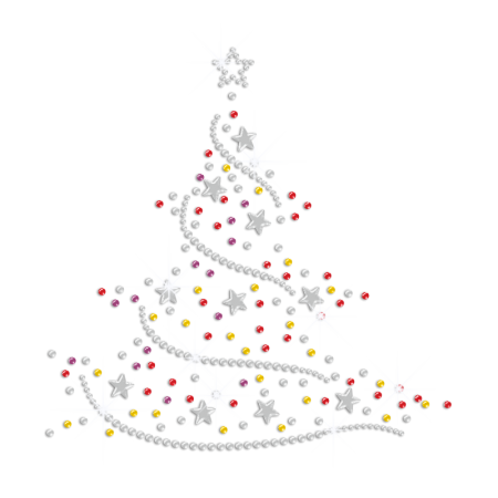 Bling Colorful Christmas Tree Sequin Rhinestone Transfer with Nailhead Stars