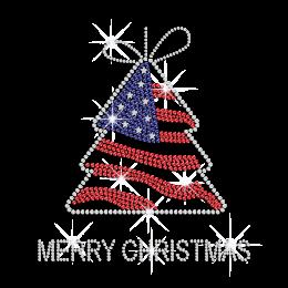 Custom American Christmas Tree Rhinestone Nailhead Decal