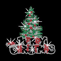 Bling Green Christmas Pine Tree Rhinestone Design