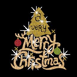 Custom Glitter Golden Merry Christmas Rhinestone Motif