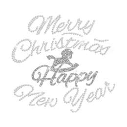 Bling Glitter Happpy Hobbyhorse Rhinestone Transfer for Christmas