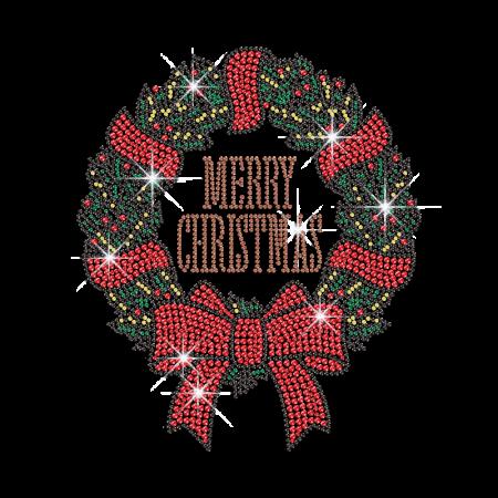 Shining Christmas Wreath Rhinestud Decal