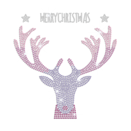 Custom Cool Christmas Reindeer Rhinestone Transfer Design