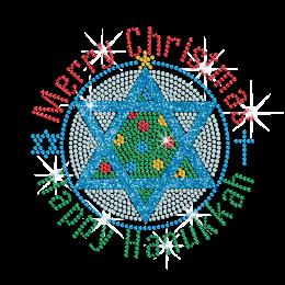 Wholesale Glitter Christmas and Hanukkah Hexagram Rhinestone Transfer