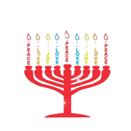 Custom Peace and Love Glitter Candlestick Rhinestone Decal