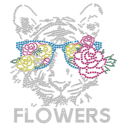 Flowers Tiger Big Cat Heat Transfer For Shirts