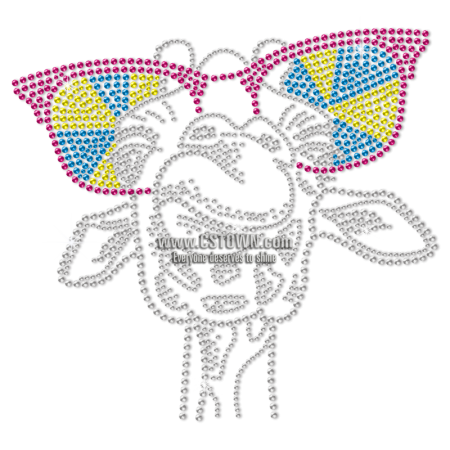 Laughing Giraffe In Sunglasses Metal Rhinestud Heat Transfer