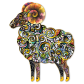 Colored Drawing Sheep Printable Vinyl Transfer