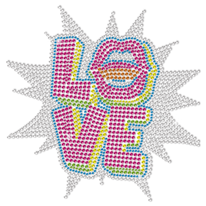 Say Love Out Loudly Color Blocking Neon Rhinestud Transfer