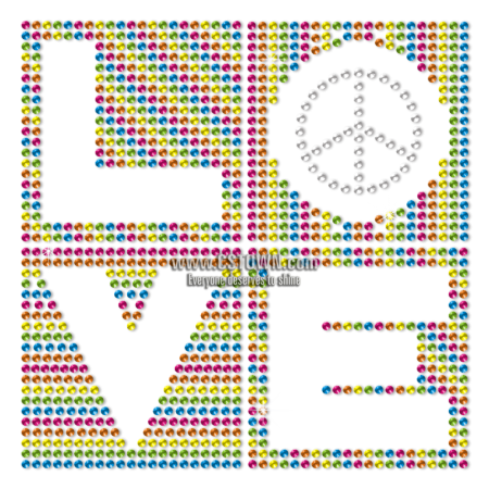 Love Peace Sign Heat Press Transfer Design Neon Rhinestud Transfer