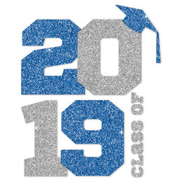 Class Of 2019 Blue And Silver Glitter Heat Transfer
