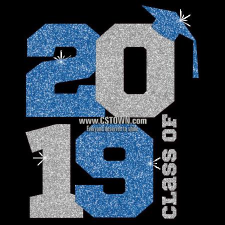 Class of 2019 Iron-on Glitter Vinyl /& Rhinestone Transfer