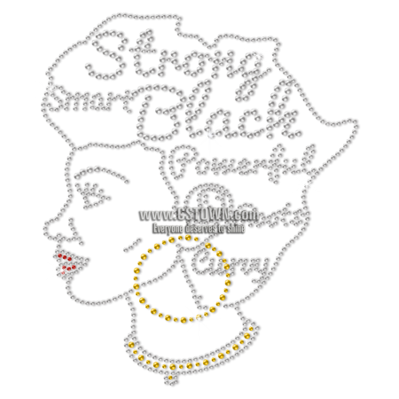 Smart Strong And Powerful Afro Lady Rhinestone Transfer