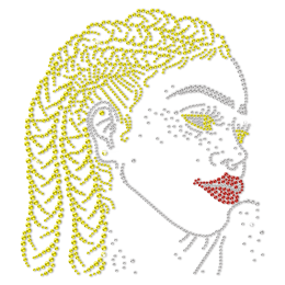 Blond Hair Afro Girl Bling Star In The Crowed Rhinestone Transfer