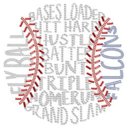 Baseball Metal Nailhead Heat Transfer For Shirts