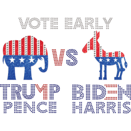 Trump Pence VS Biden Harris Rhinestone Heat Transfer