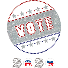 2020 Vote for America Rhinestone and Printable PU Transfer