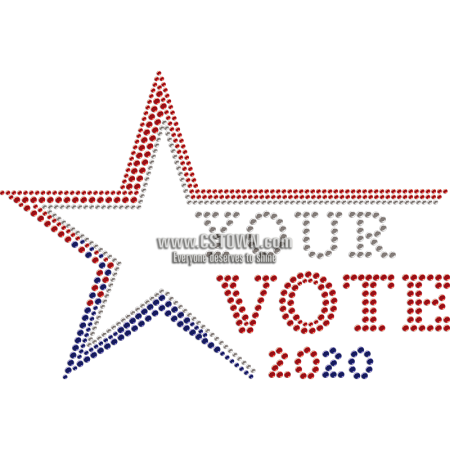 Your 2020 Vote & Star Rhinestone Heat Transfer