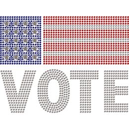 Vote & American Flag Rhinestone Heat Transfer Design