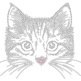 Metal Rhinestud Pink Nose Wild Cat Transfer For Clothes