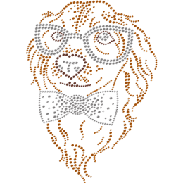 Metal Rhinestud Cute Dog With Glasses Transfer