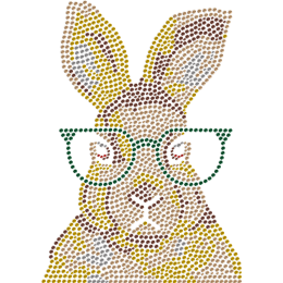 Little Rabbit In Glasses Metal Rhinestud Transfer