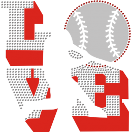 I Love Baseball Flock with Rhinestone Bling Transfer