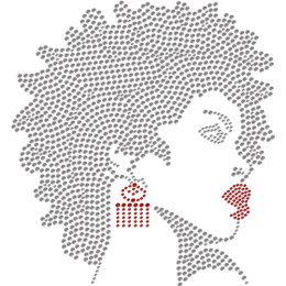 Afro Girl With Sexy Red Lips Rhinestone Transfer