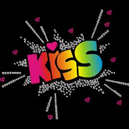 Kiss Motif Printable Glitter Heat Transfer