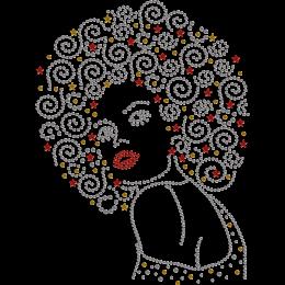 Gorgeous Afro Girl Nailhead Transfer
