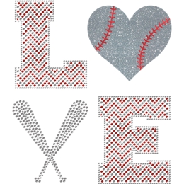 I Love Baseball Bling Glitter Heat Transfer